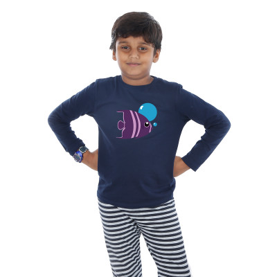 Blue Full Sleeve Boys Pyjama - Fish
